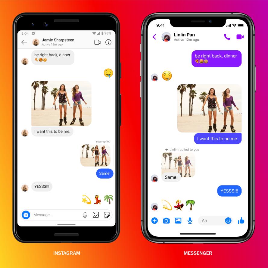 A conversation between an Instagram user and a Facebook user. FB.com