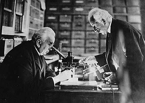 Auguste and Louis Lumière, the French brothers instrumental in creating cinema. Larousse